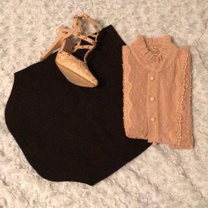 Black high waisted rounded mini skirt
